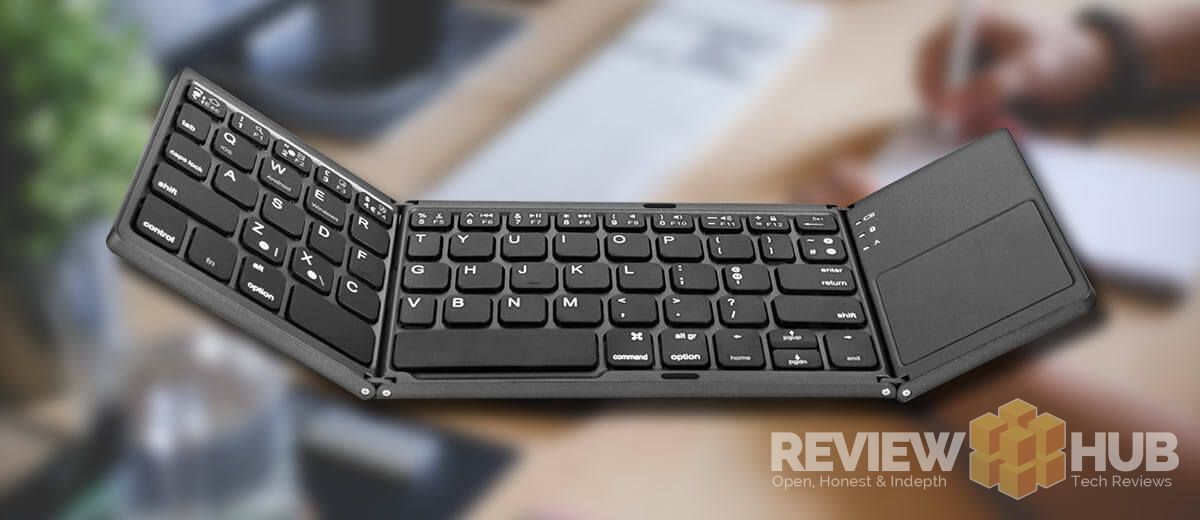Jelly Comb Tri-Fold Portable Keyboard on desk