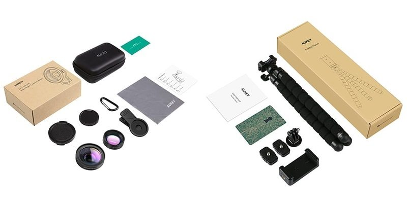 Aukey Lens Kit and Tripod Retail Boxes
