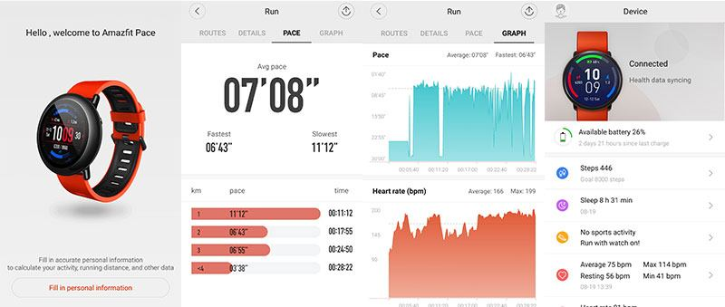 Amazfit Pace Health Tracking App