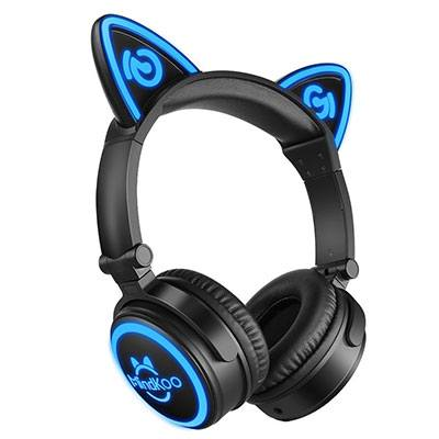 MindKoo Light Up Cat Ear Headphones Blue