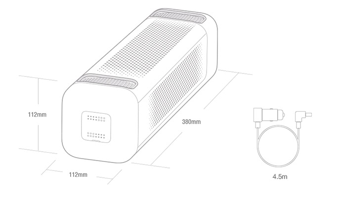 Xiaomi PM2.5 Car Air Purifier tech Specs